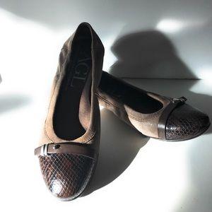 AGL Brown Snakeskin Print Leather Cap Toe Flats